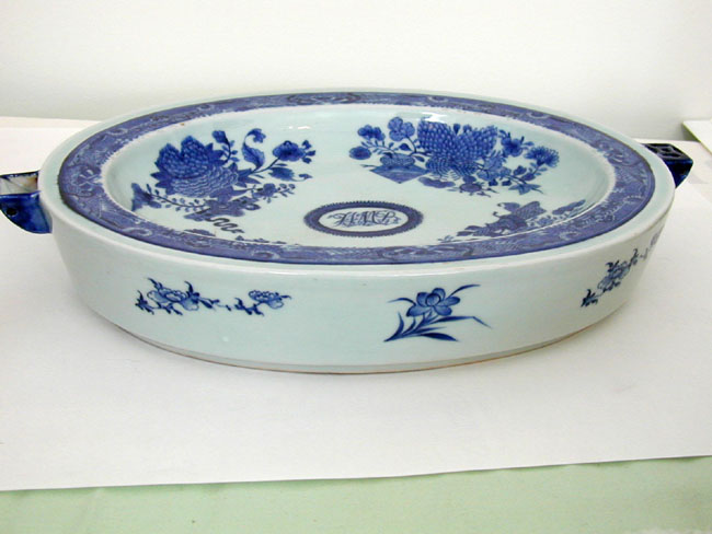 click to view larger image of Early 19th Century Chinese Export 'Fitzhugh' Hot Water Platter With Owner's Initials in Script H M B
