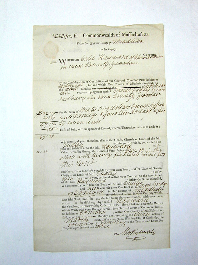 click to view larger image of Antique Middlesex county, Mass., Court Document Dated Jan. 4, 1803