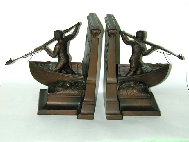 click to view larger image of Pair of Antique New Bedford Whaling Monument Bronze Bookends