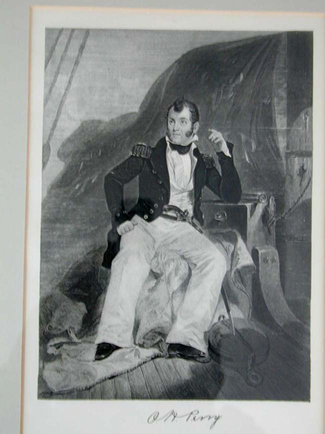 click to view larger image of 19th Century Engraving of American WAR OF 1812 Naval Hero Oliver Hazard Perry