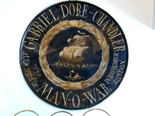 click to view larger image of 19th Century Ship Chandler's Trade Sign Painted on Metal