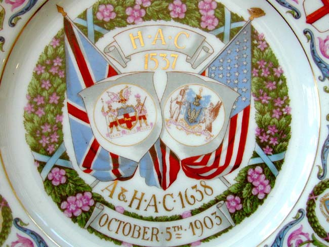 click to view larger image of Commemorative Plate From The Ancient & Honourable Artillery Company of Boston Dated 1903