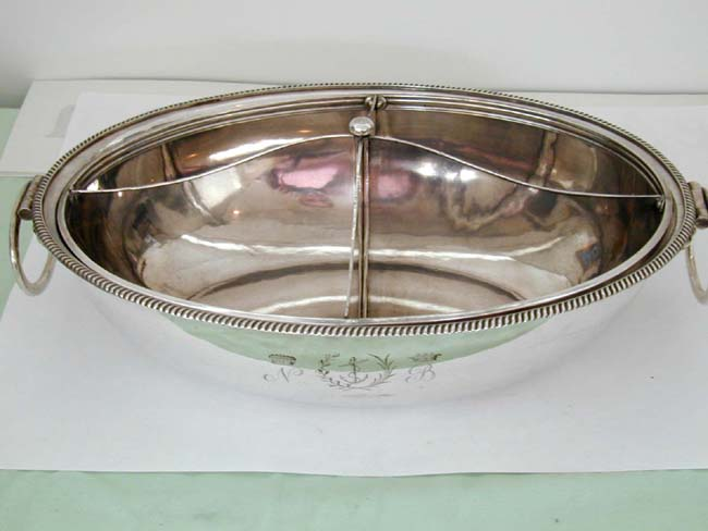 click to view larger image of Highly Rare and Important Silver Plated Covered Entree Dish With the Arms of Admiral Lord Nelson