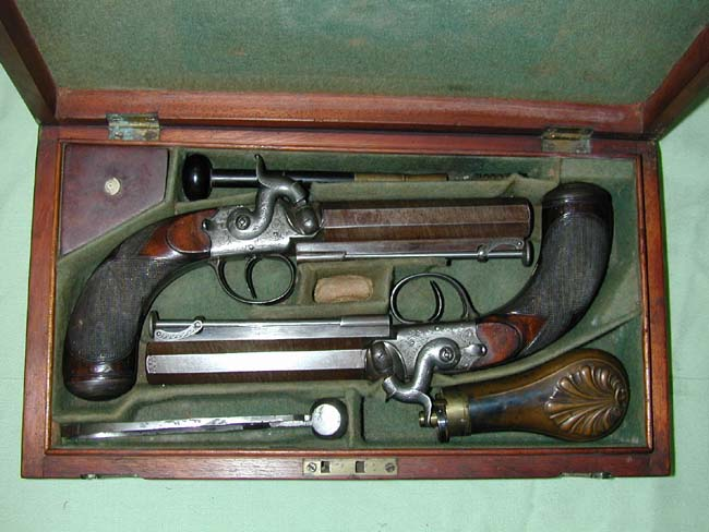 click to view larger image of Cased Pair of British Officer's Percussion Pistols Circa 1845