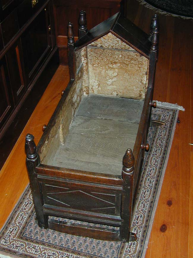 click to view larger image of Antique English Oak Cradle Dated 1691