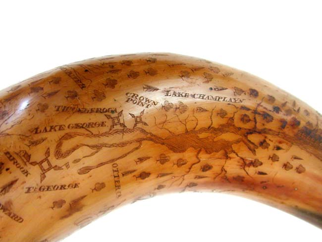 click to view larger image of A Professionally carved English Map Powder Horn in the style of the French and Indian Wars. Probably 20th century.