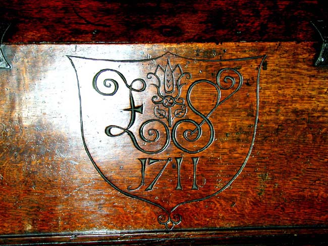 click to view larger image of A Fine Late 17th Century English Oak Bible or Desk Box With Initials 'ES' and Dated 1711