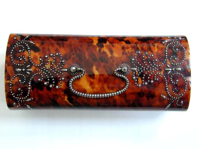 click to view larger image of Wonderful 19th Century Tortoiseshell Jewellery Box with Steel Studded Decoration