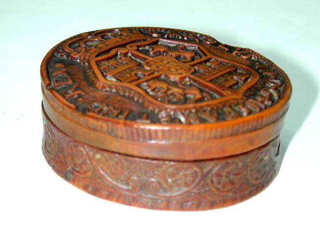 click to view larger image of Fine And Rare 18th Century Spanish Carved Boxwood Tobacco Box Circa 1765