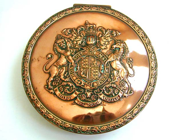 click to view larger image of Antique Copper Seal Box With the Arms Of King Edward VII of England of 1910