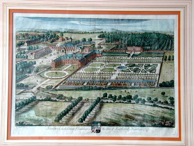 click to view larger image of An Early 18th century English Country House Engraving of SOUTHWICK by John Kip circa 1724