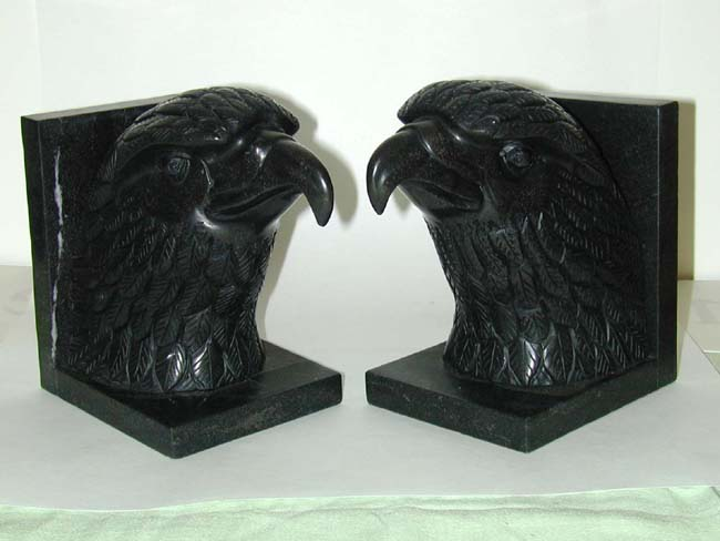 click to view larger image of Magnifiscent and Striking Pair of Black Marble Eagle Bookends circa 1920