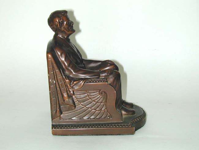 click to view larger image of A Fine Pair of Abraham Lincoln Bronzed Bookends Circa 1924
