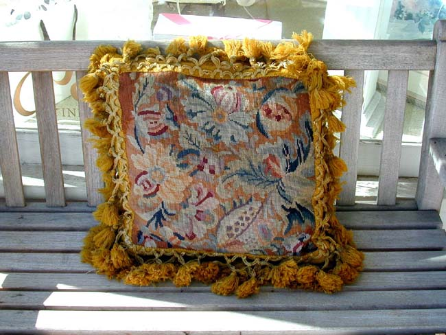 click to view larger image of Antique English Needlework Tasseled Cushion with Gros Point Floral Design Circa 1840