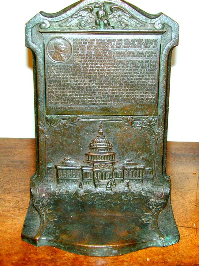 click to view larger image of Outstanding and Historic Pair of Commemorative Abraham Lincoln's Gettysburg Address Bookends