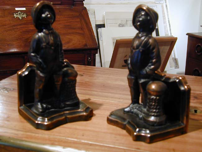 click to view larger image of A Charming Pair of 'Sailor Boy' Antique Bookends circa 1930