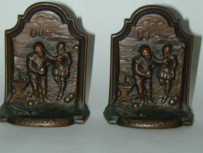 click to view larger image of A Charming Pair of Sir Francis Drake and the Spanish Armada Bronzed Bookends Circa 1900