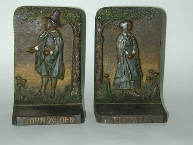 click to view larger image of Pair of Bradley and Hubbard Antique Bookends Depicting John and Priscilla Alden circa 1925