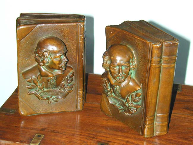 click to view larger image of Fine Pair of William Shakespeare Bronzed Antique Bookends circa 1930