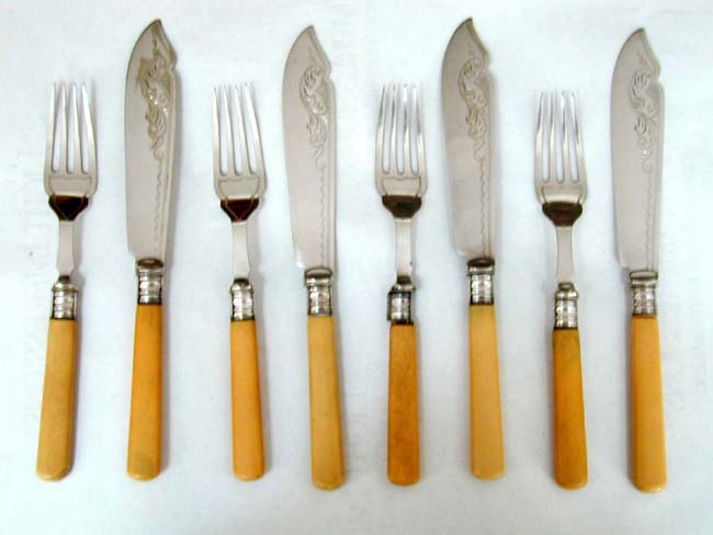 click to view larger image of A Good Antique Set of English Bone Handled Fish Fork and Knifes circa 1870