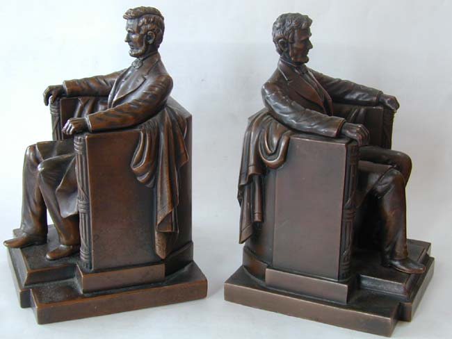 click to view larger image of A Pair of Lincoln Memorial Bronze Antique Bookends made by Jennings Brothers circa 1930