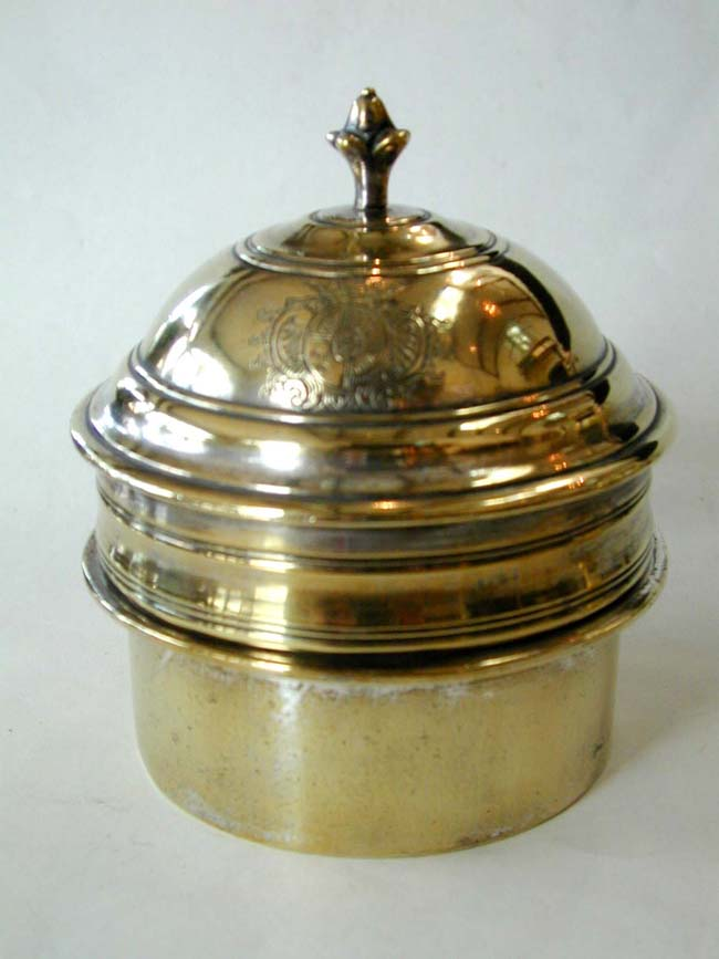 click to view larger image of A Fine and Rare Early 18th century French Brass Brazier (Kettle Stand) with its original turned ivory handle