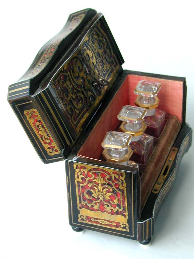 click to view larger image of A fine 19th century brass inlaid tortoiseshell scent or cordial Box, probably English circa 1850