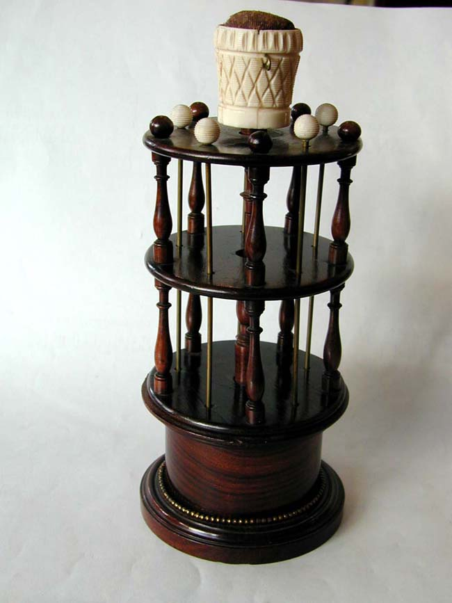 click to view larger image of An Early 19th Century English Rosewood Sewing Stand with Bone Mounts