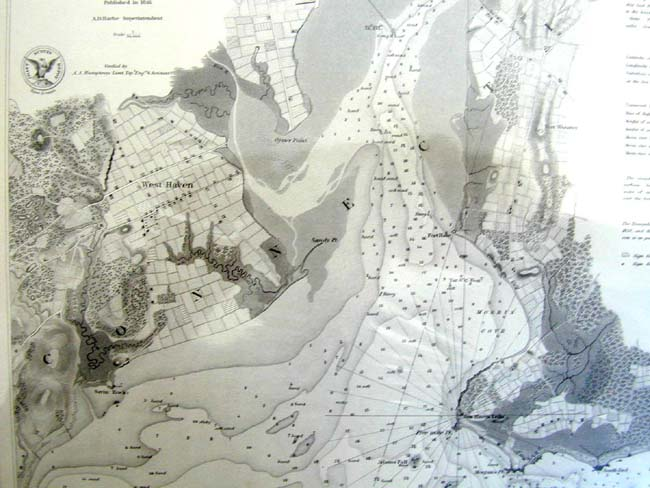 click to view larger image of A U.S. Coastal Survey Of New Haven (CT) Harbor Published in 1846