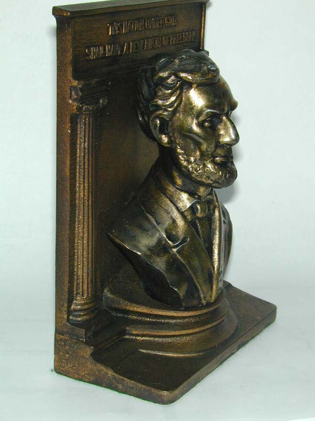 click to view larger image of A BRADLEY & HUBBARD Single Bronze Bookend of Abraham Lincoln circa 1930