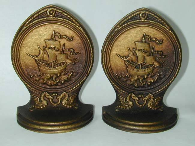 click to view larger image of A Pair of BRADLEY & HUBBARD Bronze Bookends Depicting a 16th Century Galleon, circa 1920