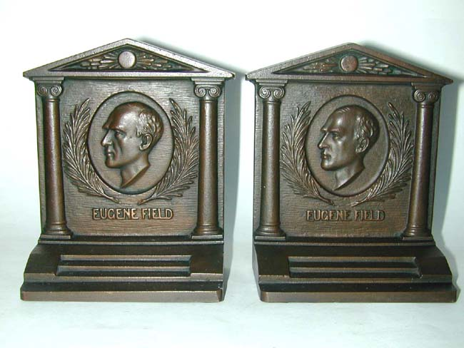 click to view larger image of A Pair of BRADLEY & HUBBARD Bronze Bookends depicting