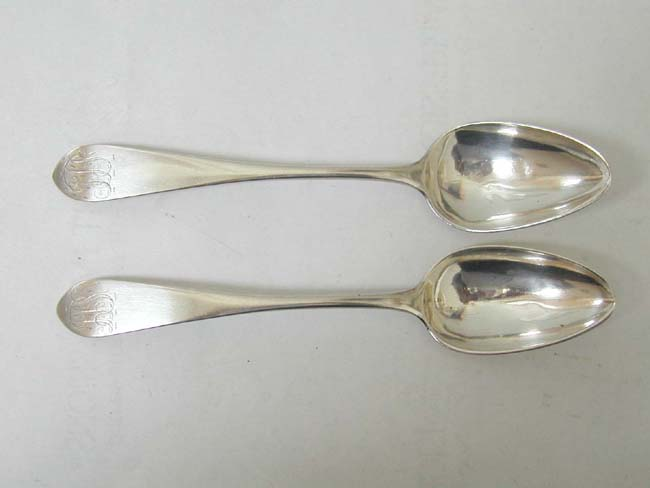 click to view larger image of A Fine Pair of Late 18th Century American Silver Tablespoons