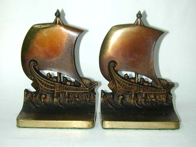 click to view larger image of A Pair of early 20th century BRADLEY & HUBBARD Bookends Depicting a Roman Trading Ship