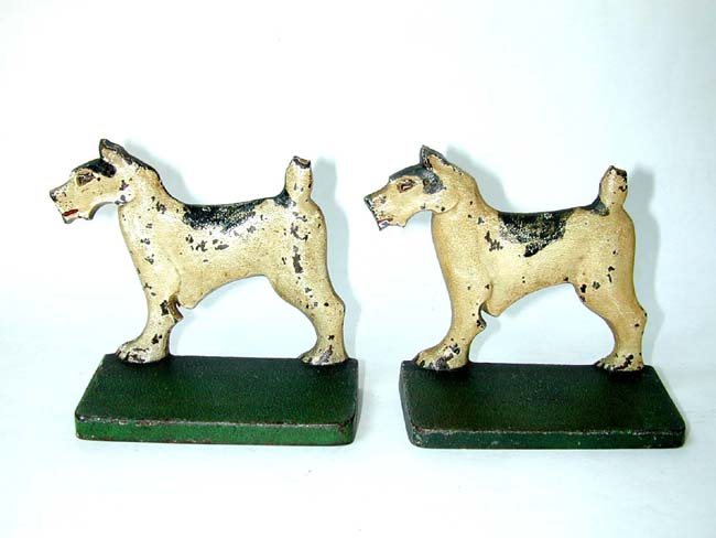 click to view larger image of A Pair of BRADLEY & HUBBARD Wire Haired Fox Terrier Antique Bookends circa 1910