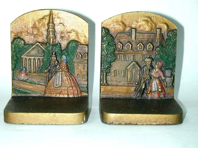 click to view larger image of A Pair of BRADLEY & HUBBARD 'Colonial Town' Antique Bookends circa 1920