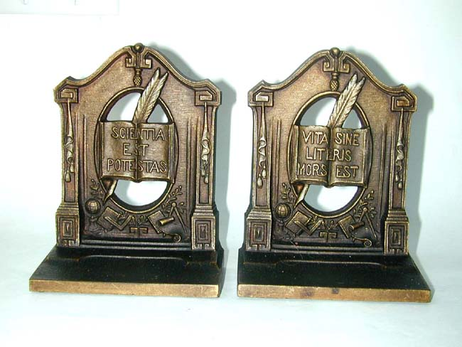 click to view larger image of A Pair of Bradley & Hubbard Philosphers Antique Bookends circa 1920