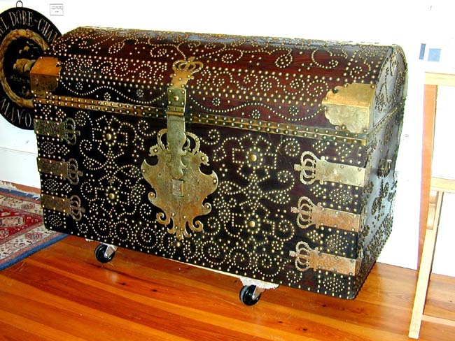 click to view larger image of An IMPORTANT and RARE English Royal George II Brass Decorated Mahogany Travelling Trunk