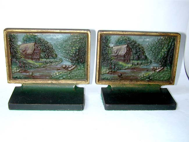click to view larger image of A Pair of Bradley & Hubbard 'Thatched Cottage' Antique Bookends circa 1920