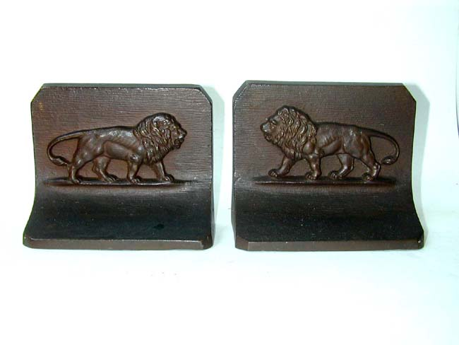 click to view larger image of A Pair of Antique Bradley & Hubbard Lion Bookends circa 1900