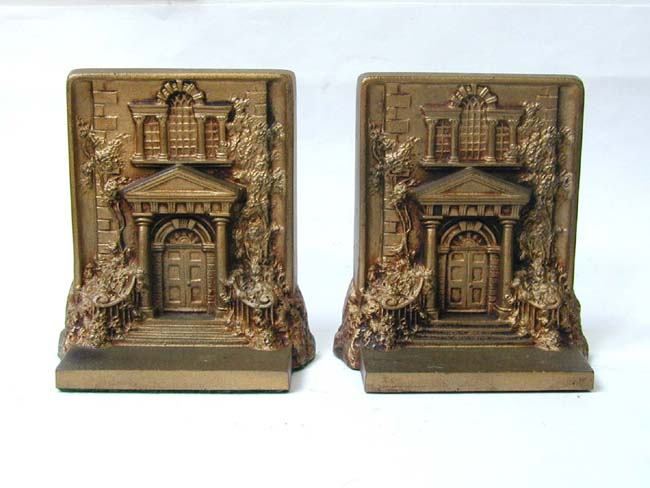 click to view larger image of A Pair of BRADLEY & HUBBARD Antique Bookends Depicting 'Mount Pleasant' in Philadelphia circa 1900