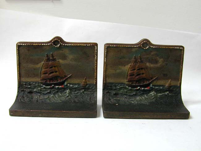 click to view larger image of A Pair of BRADLEY & HUBBARD Hand Painted Ship Bookends With Original Paper Labels circa 1910