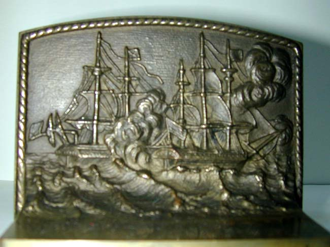 click to view larger image of A Rare Pair of BRADLEY & HUBBARD War of 1812 Naval Battle Antique Bronze Bookends