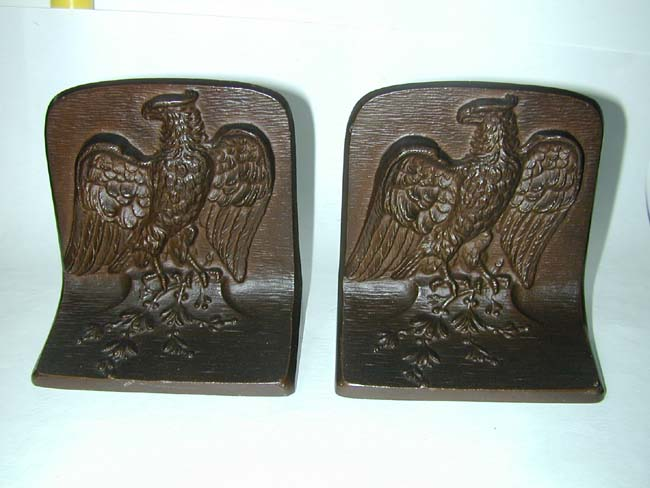 click to view larger image of A Wonderful Pair of Bradley & Hubbard Bronze Patriotic Eagle Bookends circa 1900