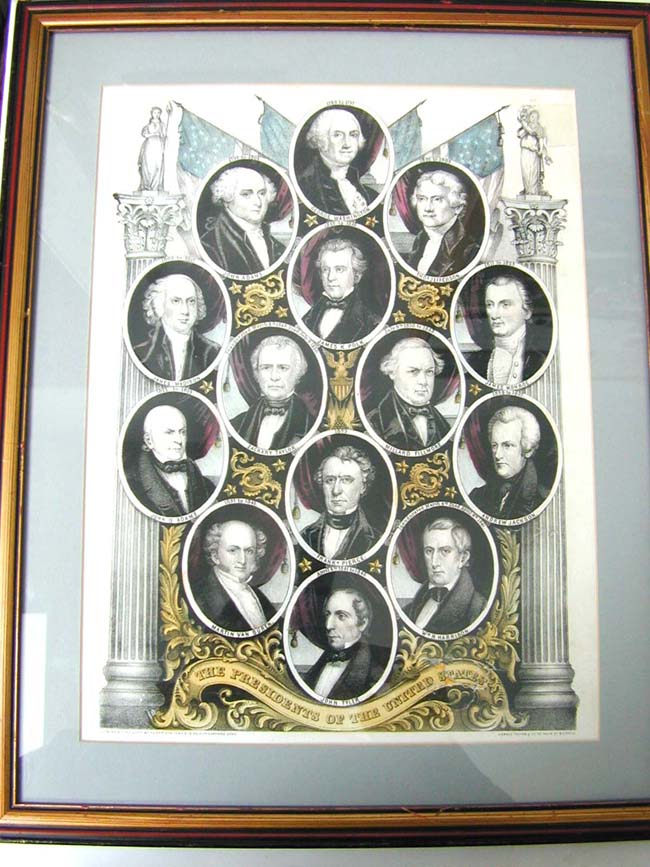 click to view larger image of A Circa 1853 Colored Lithograph Depicting the first 12 Presidents of the United States