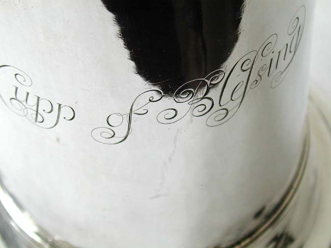 click to view larger image of A Fine and Large English George I Period Silver Church Flagon by Gabriel Sleath, London 1714