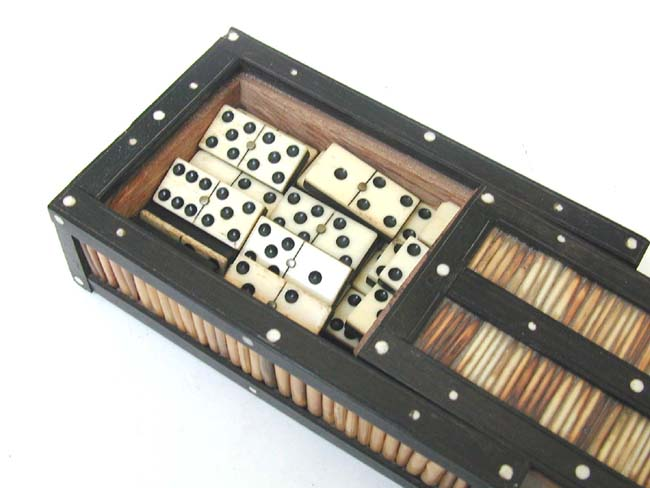 click to view larger image of A fine set of 19th century Bone and Ebony Dominoes in a Rare Ebony and Porcupine Quill Box circa 1870.
