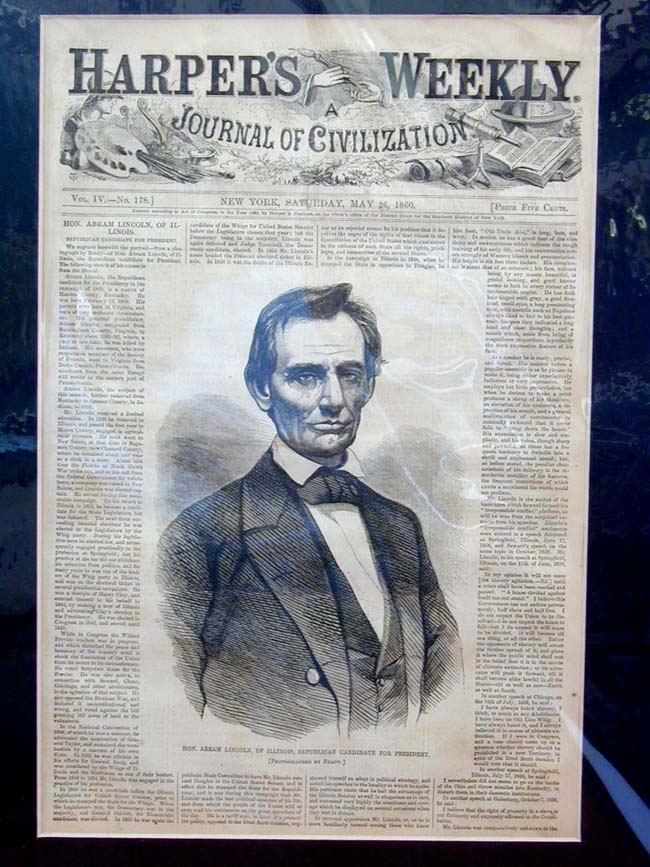click to view larger image of Abraham Lincoln's First Cover Published by HARPER'S WEEKLY May 26, 1860