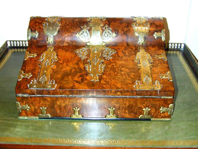 click to view larger image of A Fine Victorian Brass Mounted Burr Walnut Writing Slope circa 1850