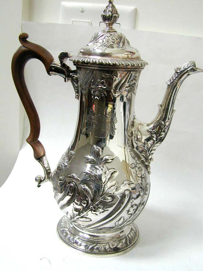 click to view larger image of A Magnifiscent George II Sterling Silver Coffee Pot by Benjamin Godfrey, London 1759